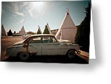 Wigwam Motel Classic Car #8 Greeting Card