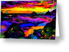 Wild And Crazy Shoreline Dusk Greeting Card