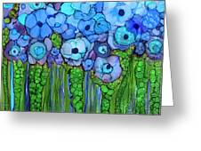 Wild Blue Poppies Greeting Card