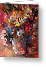 Wild Flowers Bouquet In A Terracota Vase Greeting Card