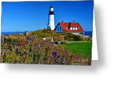 Wild Flowers Fading At The Portland Head Light Greeting Card