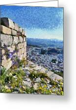 Wild Flowers On Loophole In Palamidi Castle Greeting Card