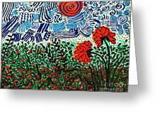 Wild Flowers Under Wild Sky Greeting Card