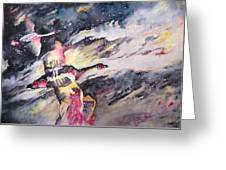 Wild Geese Flying In A Snow Storm Greeting Card