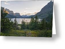 Wild Goose Island Sunset - Glacier National Park Montana Greeting Card
