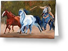 Wild Horse Roundup Greeting Card