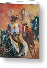 Wild Horse Stampede Greeting Card