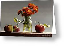 Wild Red Apples With Marigolds Greeting Card