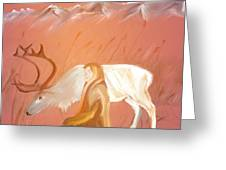 Wild Reindeer And Young Woman Becoming Friends - Poetic Painting Greeting Card