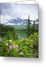 Wild Roses And Mountain Lake In Jasper National Park Greeting Card