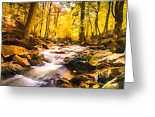 Wild Waterfalls Flowing Through A Forest Greeting Card