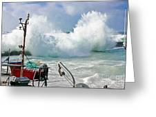Wild Waves In Cornwall Greeting Card