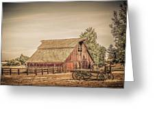 Wild West Barn And Hay Wagon Greeting Card