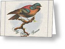Wildcraft Bird Print On Linen Greeting Card