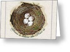 Wildcraft Nest On Linen Greeting Card