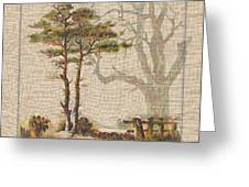 Wildcraft Trees Print On Linen Greeting Card