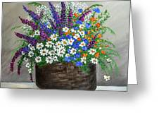 Wildflower Basket Acrylic Painting A61318 Greeting Card