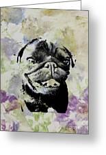 Wildflower Pug Greeting Card