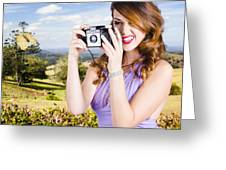 Wildlife Photographer Shooting Insects And Nature Greeting Card