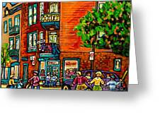 Wilensky Diner Little League Expo Kids Baseball Painting Montreal Scene Canadian Art Carole Spandau  Greeting Card