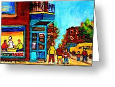 Wilensky's Lunch Counter With School Bus Montreal Street Scene Greeting Card