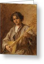 Wilhelm Amardus Beer, Portrait Of A Musician Boy Greeting Card