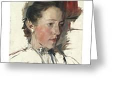 Wilhelm Leibl 1844 - 1900 German Bauernmadchen Farm Girl Greeting Card