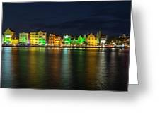 Willemstad And Queen Emma Bridge At Night Greeting Card