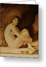 William Bouguereau Seated Nude  Greeting Card