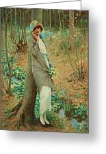 William Henry Margetson, Woman In A Spring Landscape. Greeting Card