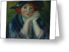 William J. Glackens 1870-1938 1870 - 1938 Portrait Study Of An Artist's Model Greeting Card