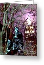 William Seward Statue And Empire State Bldg With Trees Greeting Card
