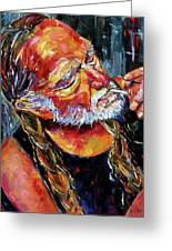 Willie Nelson Booger Red Greeting Card by Debra Hurd