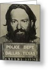 Willie Nelson Mug Shot Vertical Sepia Greeting Card