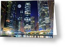 Willis Tower And Moon Greeting Card