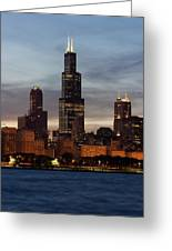 Willis Tower At Dusk Aka Sears Tower Greeting Card