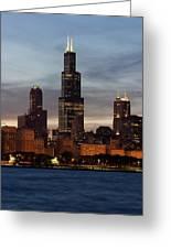 Willis Tower At Dusk Aka Sears Tower Greeting Card