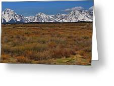 Willow Flats At Grand Teton Panorama Greeting Card