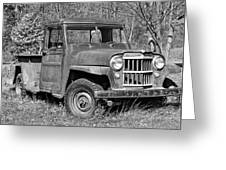 Willys Jeep Pickup Truck Monochrome Greeting Card