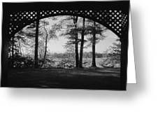 Wilson Pond Framed In Black And White Greeting Card