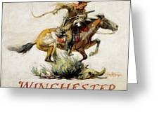 Winchester Horse And Rider  Greeting Card