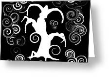 Wind Dancing - White On Black Silhouettes Greeting Card