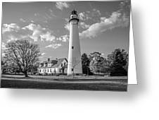 Wind Point Lighthouse And  Old Coast Guard Keepers Quarters  3 Greeting Card