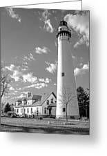 Wind Point Lighthouse And  Old Coast Guard Keepers Quarters.   Black And White Greeting Card