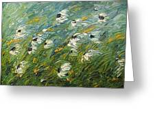 Wind Swept Daisies Greeting Card by Robert Laper
