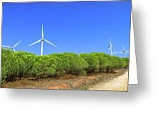 Wind Turbines Landscape Greeting Card