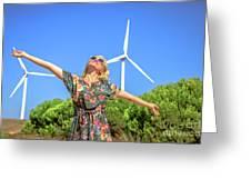Wind Turbines Woman Greeting Card