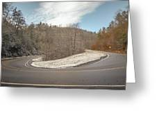 Winding Country Road In Winter Greeting Card