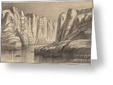 Winding River Through A Rock Formation (philae, Egypt) Greeting Card