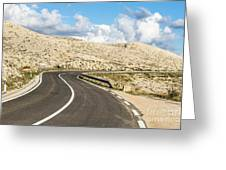 Winding Road On The Pag Island In Croatia Greeting Card
